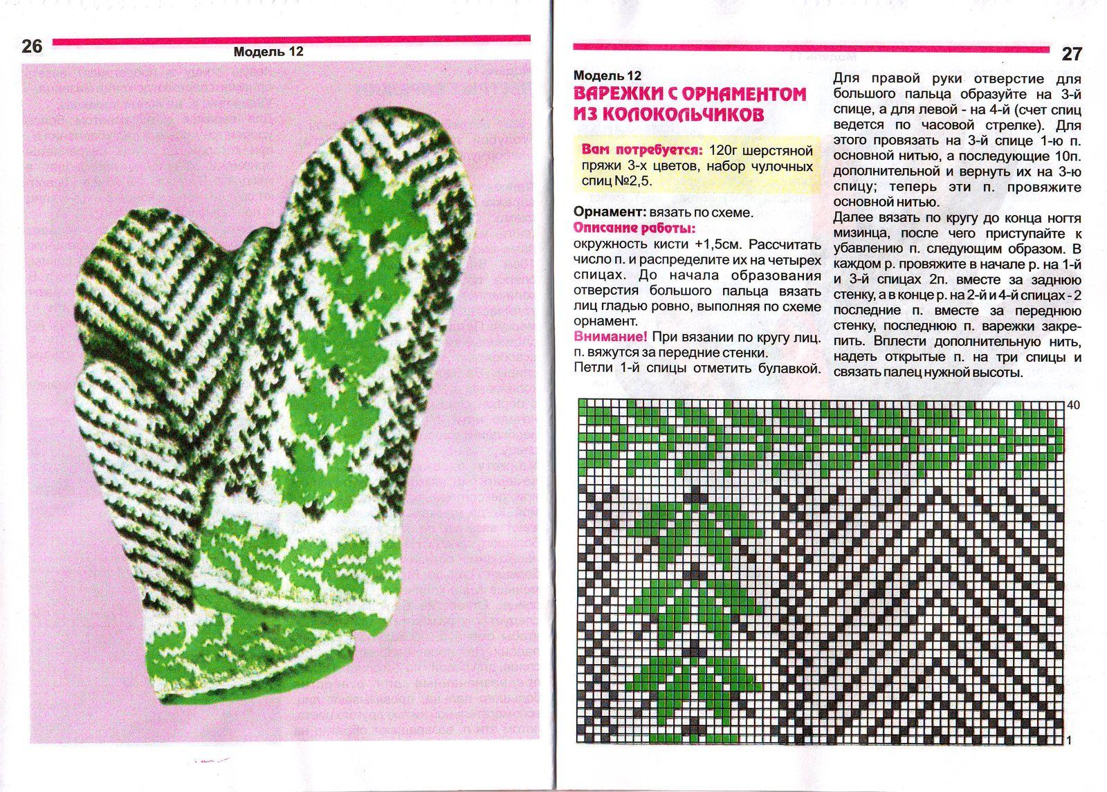 Вязание варежек и носок узорами со схемами